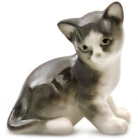 Gray Kitten Figurine Russian Imperial Porcelain Cat Sculpture Lomonosov Kitty