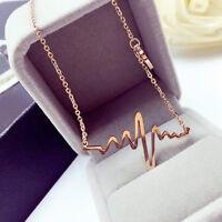 Damen Elektrokardiogramm Anhänger Heartbeat Heart Rhythm einfache Halskette