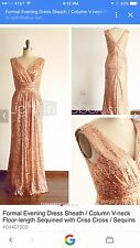 Champagne Sequin Formal/Evening/Bridesmaid/New Years Dress Custom Size 12