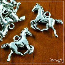 Horse charms ~PACK of 10~ Tibetan silver pony western cowboy cowgirl pendant