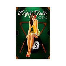 Eight Ball Billard Pool Poolbillard Pin Up Art Retro Sign Blechschild Schild NEU