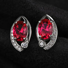 1.8ct Gorgeous Oval Pigeon Blood Ruby Earrings Solid Sterling Silver Special Hot
