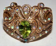 9ct oro giallo Cabochon Opale Peridot Art Deco Stile Grappolo Anello