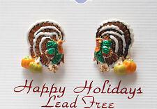 Thanksgiving Turkey Shape Post Earrings / Turkey w Pumpkins / Gold-tone
