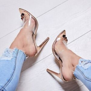 Fashion Women High Heels Slipper Mules Clear Pointed Toe Sexy Sandals Shoes Prom