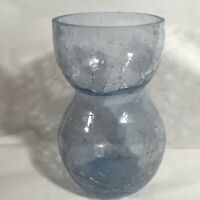 Hand Blown Art Studio Glass Case Blue Crackle Glass Hand Made Mcm
