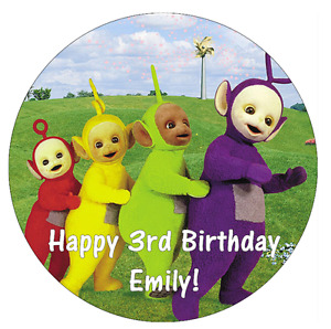 """Teletubbies Personalised Birthday Cake Topper Edible 7.5"""" Wafer Cake Decoration"""