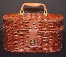 VTG Wicker Purse Basket Handbag Train Case EUC Picnic Basket Willow Cosmetic Cas
