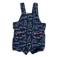 CROWN & IVY Baby Boy Romper One Piece Shortalls Sz 3 Months Shark Print Blue
