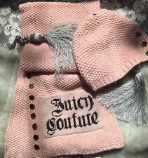 Juicy Couture Pink Merino Wool Hat And Scarf Set