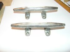 "2 MATCHING 8"" VINTAGE SOLID BRONZE CHROME HERRESHOFF STYLE BOAT CLEATS NAUTICAL"