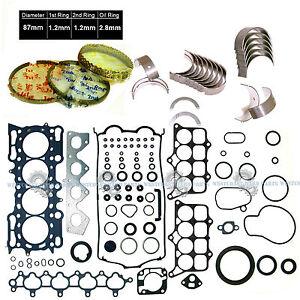 98-01 Honda Prelude 2.2L H22A4 DOHC VTec Full Set Piston Rings Main Rod Bearings
