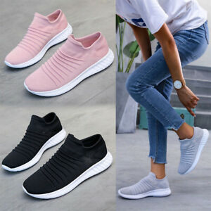UK Womens Casual Sock Mesh Shoes Trainers Breathable Flat Slip On Comfy Sneakers