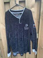 Vintage FUBU Mens Black Velour  Track Jacket Mens Size XXXL Full Zip