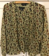 ETCETERA Mohair Blend Beaded Sweater Twinset M (8/10) Celery Green Browns