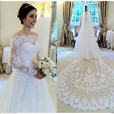 Elegant Lace A Line White Wedding Dress off Shouder Bridal Gown Custom Made Size