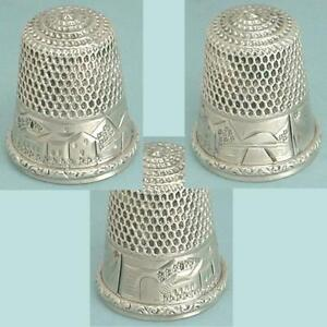 Antique Sterling Silver Scenic Thimble by Stern Bros. & Co. * Circa 1900