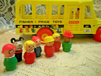 Vintage  Fisher Price Little People Play Famly School BUS #192   COMPLETE  Wood