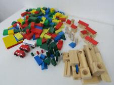 Holzbausteine 170 Teile bunte  Bauklötze - Bäume - Häuser -  Holzspielzeug