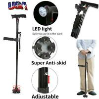 New LED Walking Stick HurryCane All Terrain Pivoting Base Folding Cane Alarm US