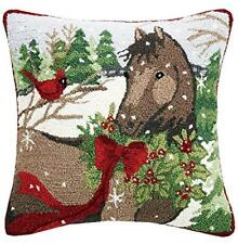 """Winter Brown Holiday Horse Christmas Holly Cardinal - 18"""" Hooked Wool Pillow"""
