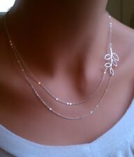 Fashion Women double Chain necklace Charm Silver leaves pendant Jewelry Gift New