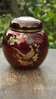Vintage Carlton Ware Oriental Rouge Royale Birds & Flowers lidded ginger jar