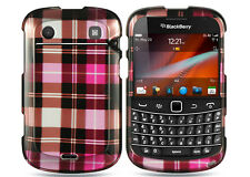 For Blackberry Bold 9930 9900 HARD Case Snap on Phone Cover Hot Pink Checker