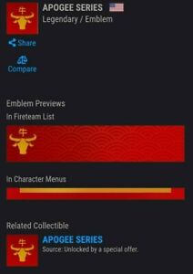 APOGEE SERIES - Destiny 2 Emblem Code (FAST DELIVERY) [PS4/Xbox/PC]
