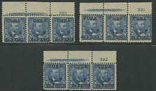 US ADMIN DURING SPANISH-AM WAR #225 (3) DIFF IMPT & PL # STRIPS OF 3 BR9763