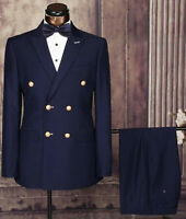Navy Men Suits Double Breasted Dinner Tuxedos Wedding Prom Party Wear 2 Pcs Coat