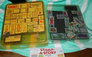 Two Stamp a Story Idea Books - Ink Stamps - Vintage 50+ stamps - All Night Media