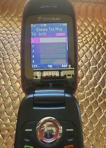 VINTAGE Samsung Red US CELLULAR Old Flip Phone Cell BUNDLE Works Retro 90's 2000