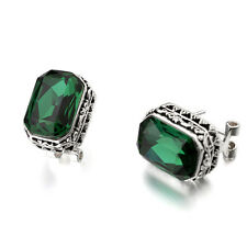 BRAND NEW 18K WHITE GOLD PLATED GENUINE EMERALD GREEN CUBIC ZIRCONIA  EARRINGS