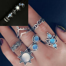 Hot Sterling Turquoise Opal Rings Natural GEMSTONE Band Ring Jewelry 6pcs/set