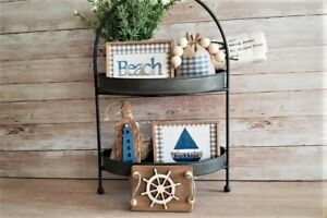 Mini Sign Beach Set / Tiered Tray Bowl Gift Set  Filler / Farmhouse/