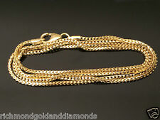 "Italian Men Women Real 14k Yellow Gold Necklace Franco Rope Chain 1mm 22"" inch"