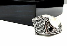 Men's Silver Black Diamond Wedding Band Ring  by Sacred Angels
