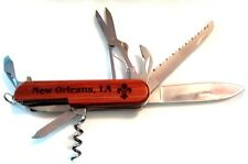"New 3.5"" Wood Handle Pocket Knife Multi-Tool New Orleans ""I Love You"""