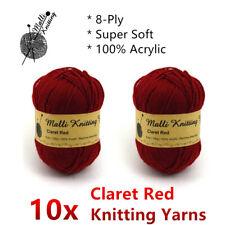 Malli 8ply Acrylic Knitting & Crochet Yarn 100g - Claret Red Machine Washable