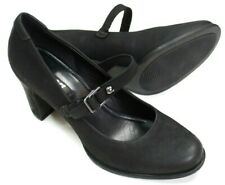 "Ecco Mary Jane Pumps Black Leather 3"" Heel Size Euro 41 US 10"