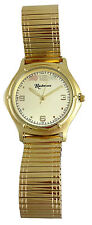 Mens Black Hills Gold Watch 12K Gold Leaves Champagne Face Gold Plated Stretch