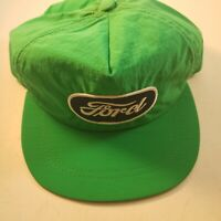 Vintage Ford Trucker Style Hat Windbreaker Material Green Snapback Made In USA