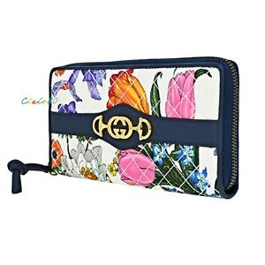 NWT Authentic Gucci Floral Quilted Trapuntata Zip Around Wallet