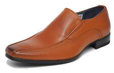 Mens Tan Black Leather Lined Slip On Smart Formal Shoes Size 6 7 8 9 10 11 12 13