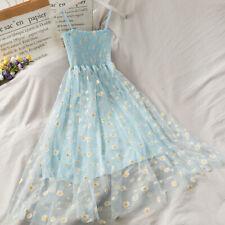 Women Off Shoulder Dress Camisole Floral Daisy Ruffle Mesh Lolita Long Dress