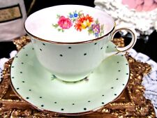 CLARENCE tea cup and saucer raised polka dots floral lime green teacup pastel