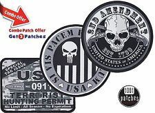 3 Patches Combo - Second 2nd Amendment / Punisher Si Vis Pacem Para Bellum / Ter