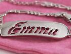 18ct Plaqué or Blanc Nom Bracelet - EMMA - Noël Mère Copine Femme Cadeau