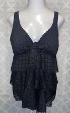 New listing Avenue • Women's Plus 22 Black Crochet Lace Front Tankini Swim Top